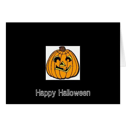 Orange Pumpkin Head Halloween Card