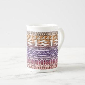 Orange Purple Ombre Geo Aztec Tribal Print Pattern Bone China Mug