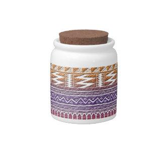 Orange Purple Ombre Geo Aztec Tribal Print Pattern Candy Dish