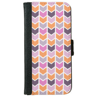 Orange Purple Pink Geometric Chevron Pattern iPhone 6 Wallet Case