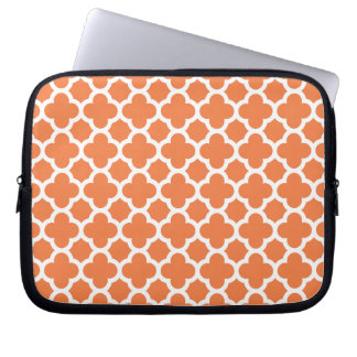 Orange Quatrefoil Trellis Pattern Laptop Computer Sleeves