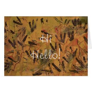 Orange Rainbow Hi Hello Greeting Card by Janz