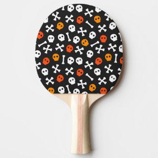 Orange Red and White Cartoon Skulls Ping Pong Paddle
