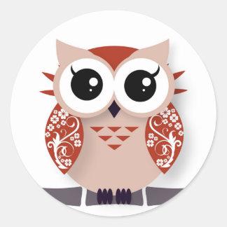 Orange red cartoon owl classic round sticker