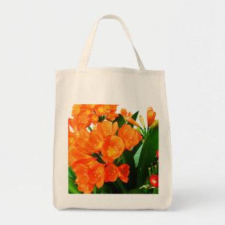 orange red grocery tote bag