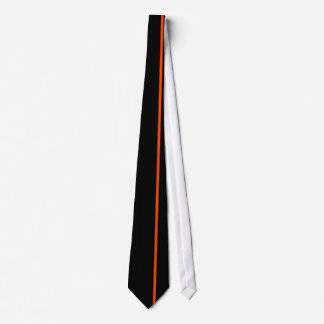 Orange Red Thin Vertical Line on Black Off Right Tie