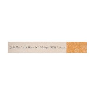 Orange Retro Floral Paisley Wraparound Address Label