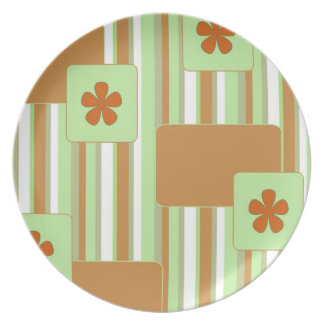 Orange Retro Pattern Plate
