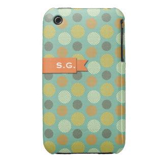 Orange ribbon green round pinwheel pattern initial iPhone 3 Case-Mate cases