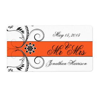Orange Ribbon Wedding Mr Mrs Water Bottle Labels