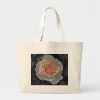 Orange rose blossoms print tote bag
