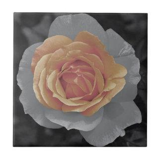Orange rose blossoms print tile
