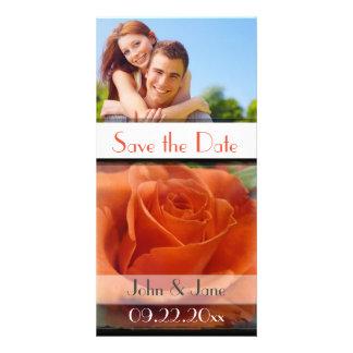 "Orange Rose /photo  ""Save the Date"" Card"