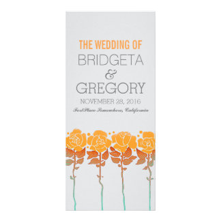 Orange roses garden - outdoor wedding programs rack card