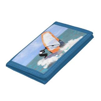 Orange Sail Windsurfer Trifold Wallets