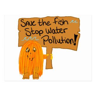 orange save the fish post card