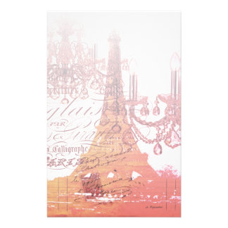 orange scripts chandelier paris eiffel tower stationery