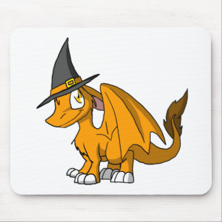 Orange SD Furry Dragon w/ Witch's Hat Mouse Pad