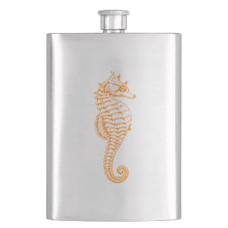 Orange Seahorse Hip Flask
