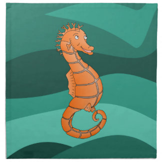 Orange seahorse in the swirling green sea napkin