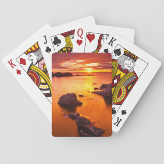Orange seascape, sunset, California Playing Cards