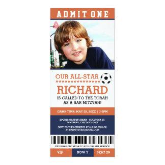Orange Soccer Bar Mitzvah Invites