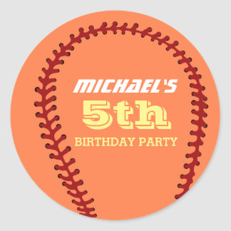Orange Softball Sticker for Sports Birthday Party