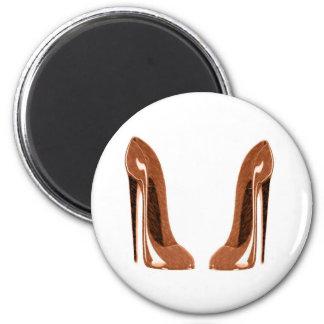 Orange Speckled Stiletto Shoes Art Fridge Magnets