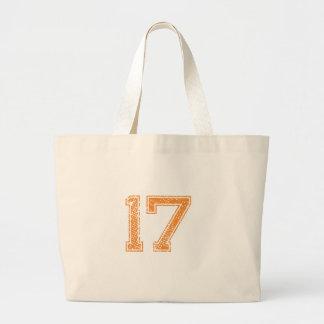 Orange Sports Jerzee Number 17.png Large Tote Bag