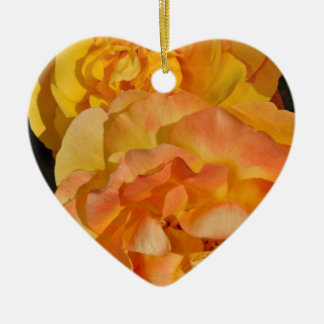 Orange spring rose blossoms ceramic heart decoration