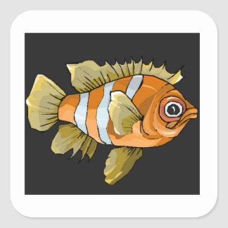 Orange Striped Fish Stickers