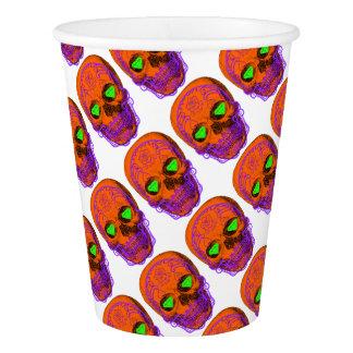 Orange Sugar Skull Paper Cup