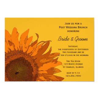 Orange Sunflower on Yellow Post Wedding Brunch Card