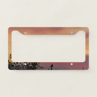 Orange Sunset with a Bird Licence Plate Frame