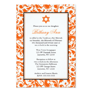 Orange Swirl Damask Bat Mitzvah Invitations