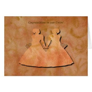 Orange Swirl Lesbian Civil Union Card