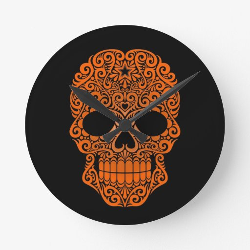 Orange Swirling Sugar Skull on Black Wall Clock