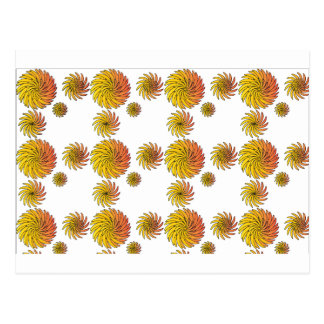 Orange Swirly Flower Pattern Postcard