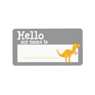 Orange T-Rex Hello My Name is Name Badge Silver Address Label