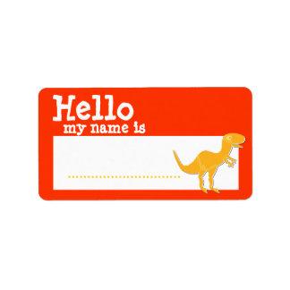 Orange T-Rex Hello My Name is Red Name Badge Address Label