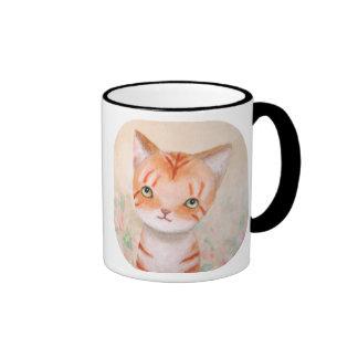 Orange Tabby Cat in Flower Garden Cute Chic Pastel Ringer Mug