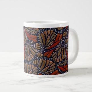 Orange, tan, black, white Monarch butterfly print Jumbo Mug