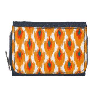 Orange Teal Abstract Tribal Ikat Diamond Pattern Wallets