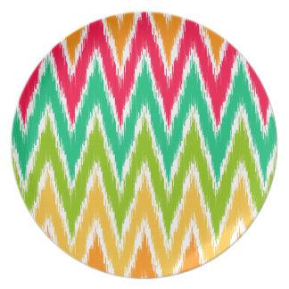 Orange Teal Ikat Chevron Zig Zag Stripes Pattern Dinner Plate