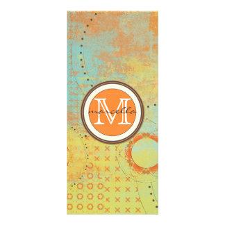 Orange Teal Paint Collage Monogram Rack Card Template