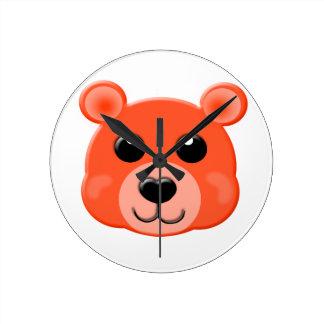 orange teddy bear face wall clocks