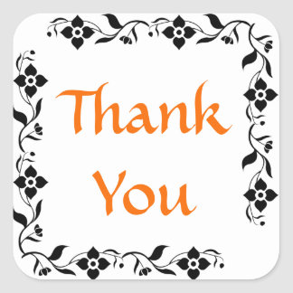 Orange Thank You Black & White Floral Stickers