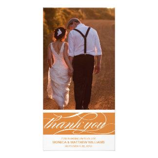 ORANGE THANKS   WEDDING THANK YOU CARD