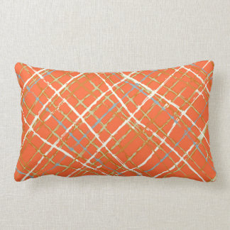 Orange Touch of Gray Blue Green Ivory Plaid Lumbar Cushion