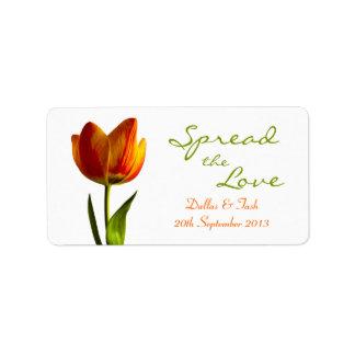 Orange Tulip Wedding Jam Jar Labels